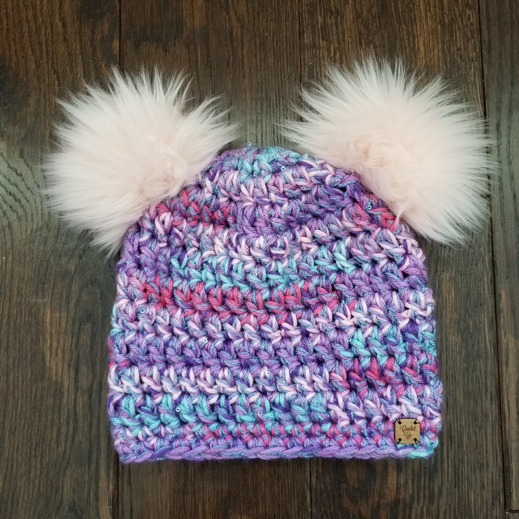 Sparkle-Corn Double Pom Hat