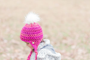 Conversation Hearts Faux Fur Pom Ear Flap Hat