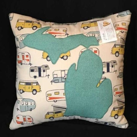 STATE (Any State) CAMPER PRINT PILLOW