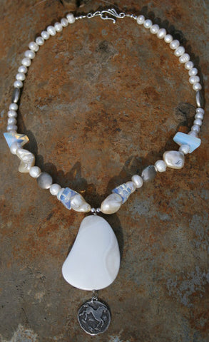White Agate Pendant Necklace
