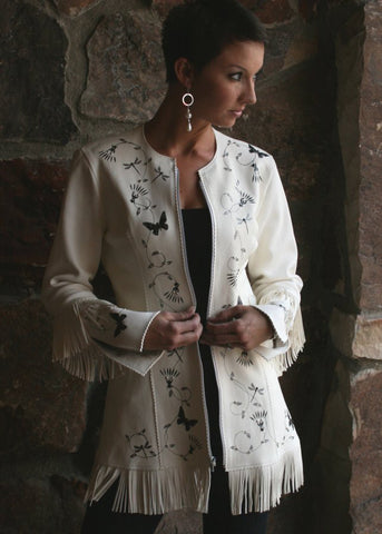 White Buckskin Fringed Jacket