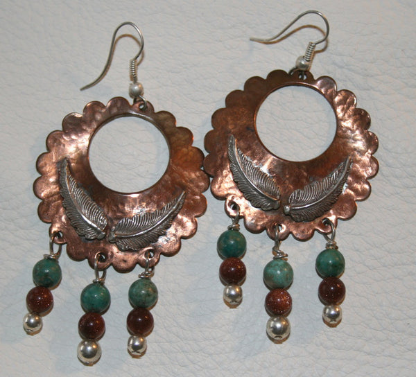 Copper and Silver Feather Earrings