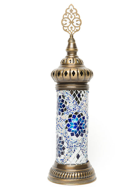 Small Mosaic Cylinder Table Lamp, Blue