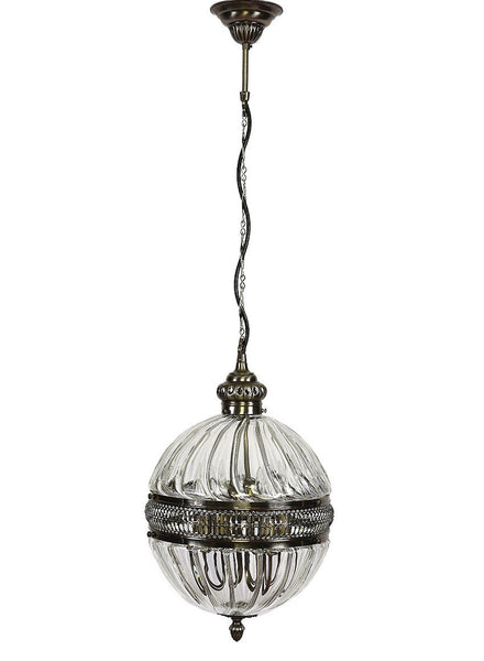 Clear Glass with Decorative Brushed Nickel, Medium Globe