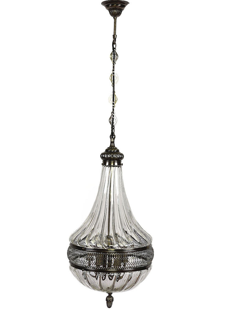 Clear Glass with Decorative Brushed Nickel, Pear Shape