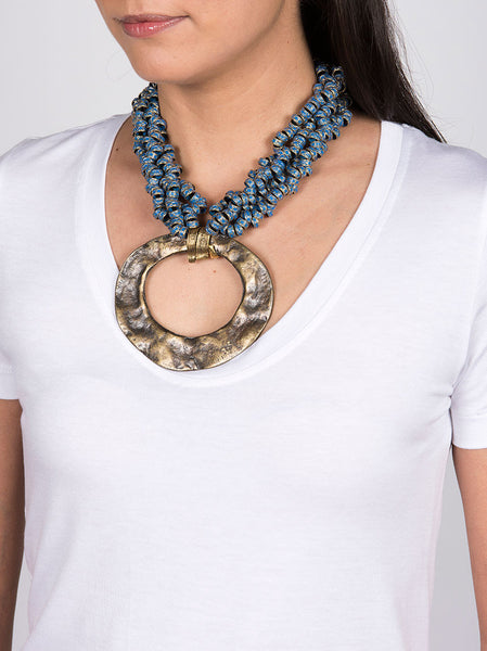 Statement Necklace, Gold Metal with Blue Design