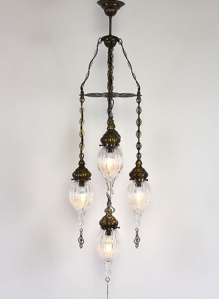Clear Glass Chandelier, 5 Lamps