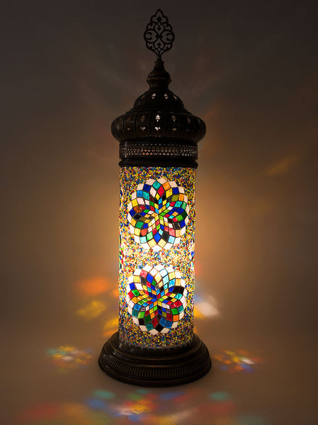 Mosaic Cylinder Lamp, Multi-Colored