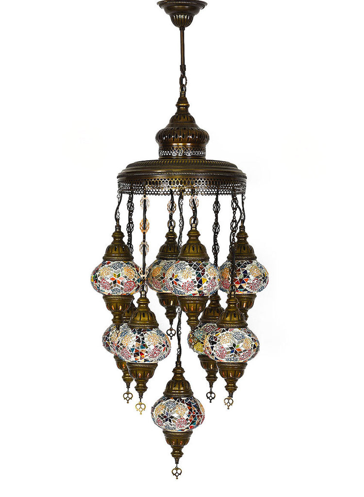 Mosaic Chandelier, 9 Lamps Multi-Colored