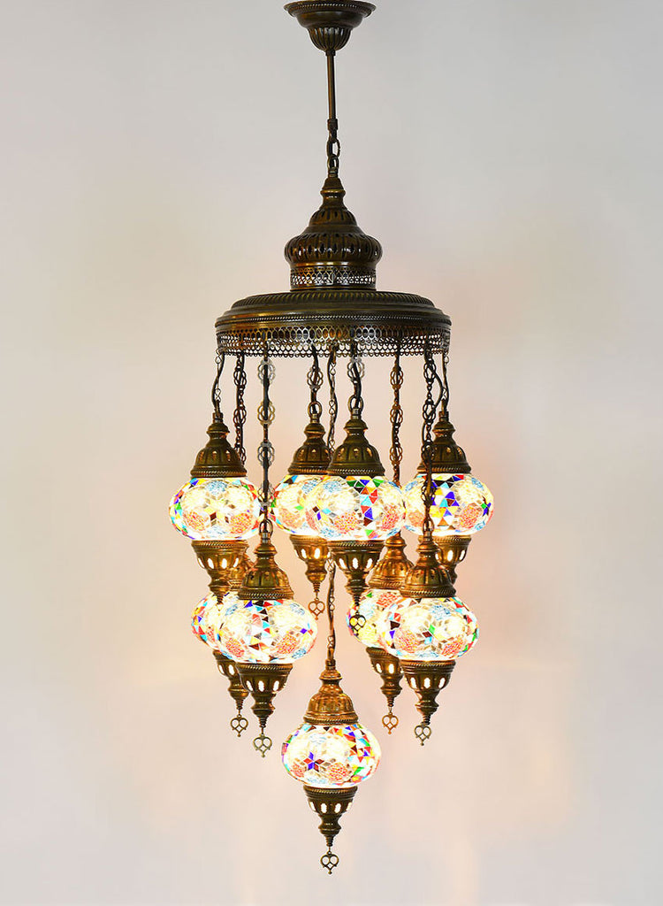 Mosaic Chandelier 9 Lamps Multi Colored