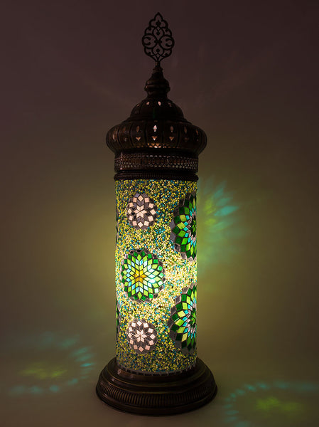 Mosaic Cylinder Table Lamp, Green