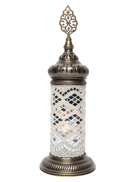 Mosaic Cylinder Table Lamp White