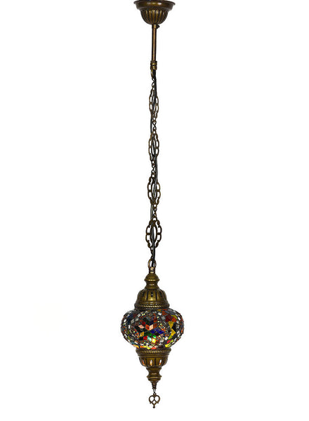 Single Hanging Mosaic Lamp -  Multi-Colored