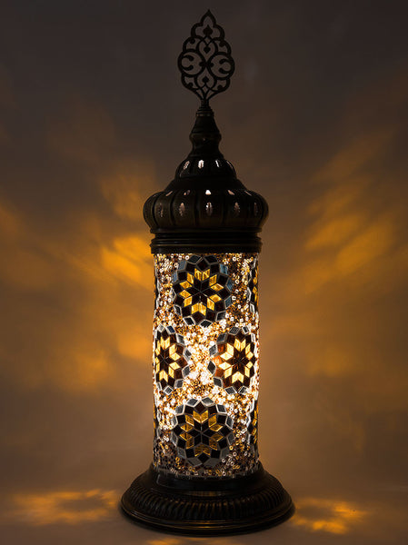 Mosaic Cylinder Table Lamp, Gold