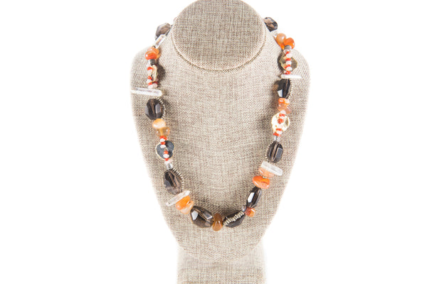 Smoky and Iridescent Quartz Necklace with Copper Beads