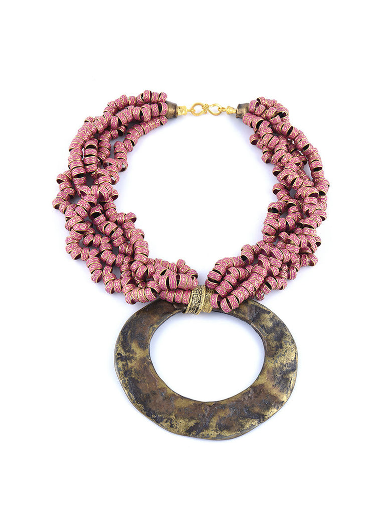 Statement Necklace, Gold Metal with Red Design