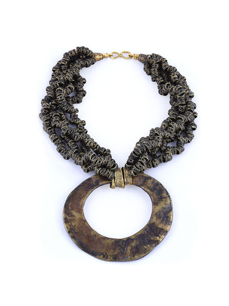 Statement Necklace, Gold Metal with Black Design