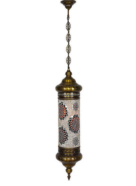 Mosaic Cylinder Hanging Lamp -  Gold/Black