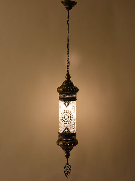 Single Hanging Mosaic Cylinder Lamp -  White