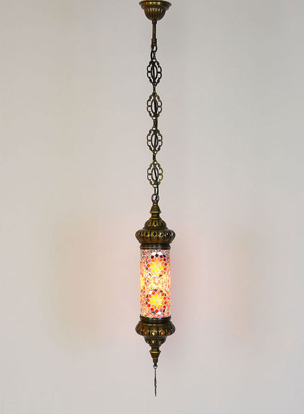 Mosaic Cylinder Hanging Lamp -  Red & Gold