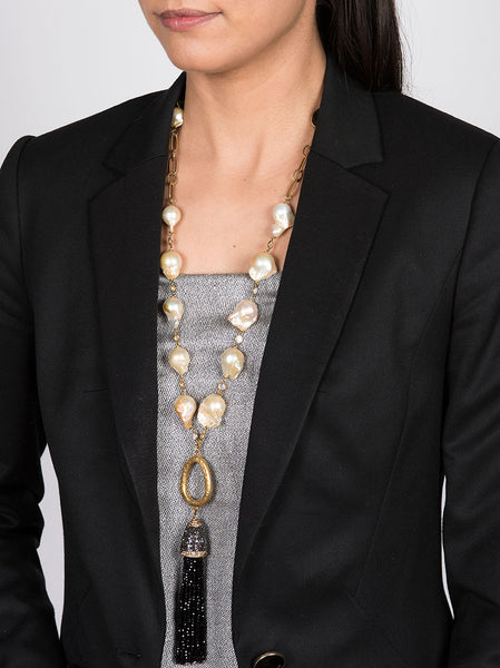 Necklace with Fresh Water Pearls and Black Tassel