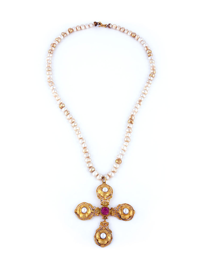 Pearl Necklace with Gold-Plated Cross Necklace