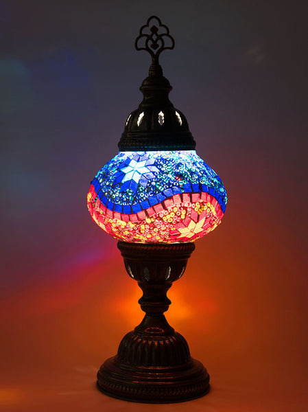 Mosaic Table Lamp, Small Blue/Red