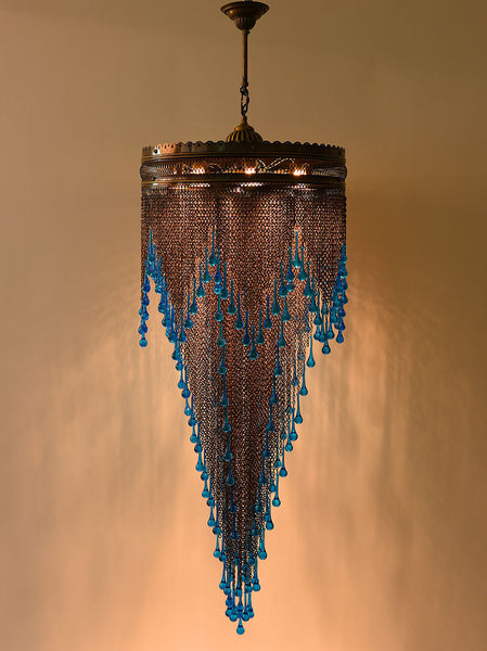 Metal Chain Chandelier, Blue Glass