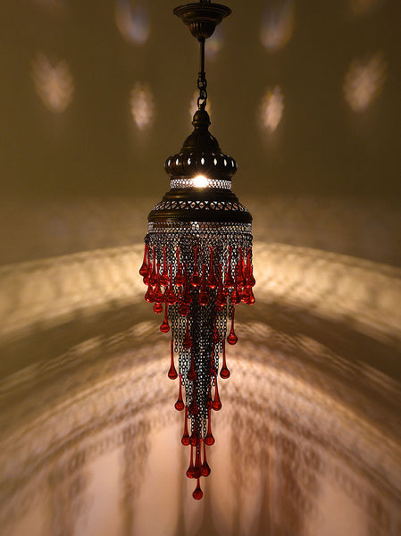Metal Chain Chandelier, Red Glass