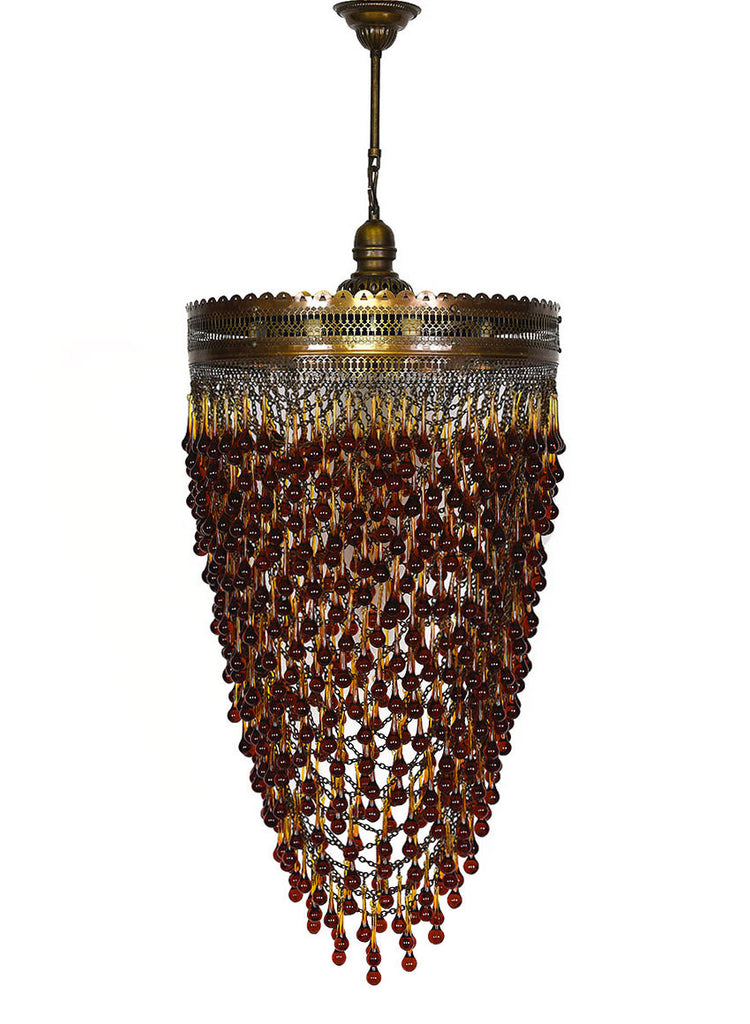 Metal Chain Chandelier, Amber Glass