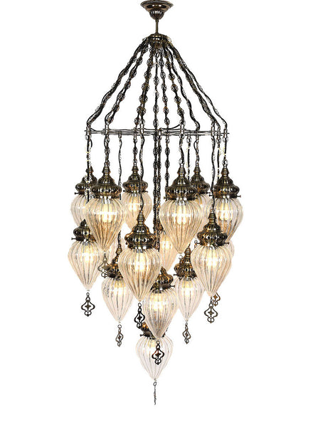 Chandeliers clear glass lolo rugs and gifts clear glass chandelier 16 lamps aloadofball Choice Image