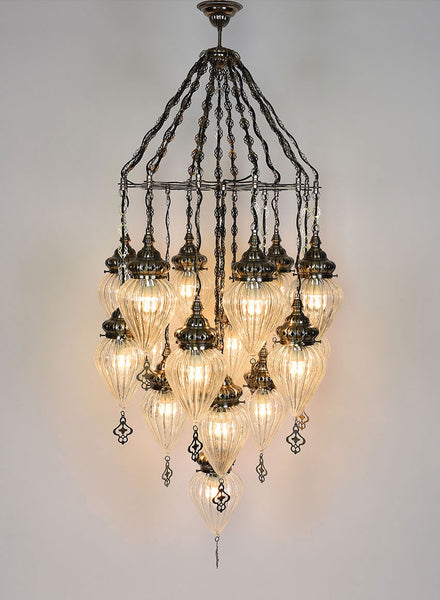 Clear Glass Chandelier, 16 Lamps