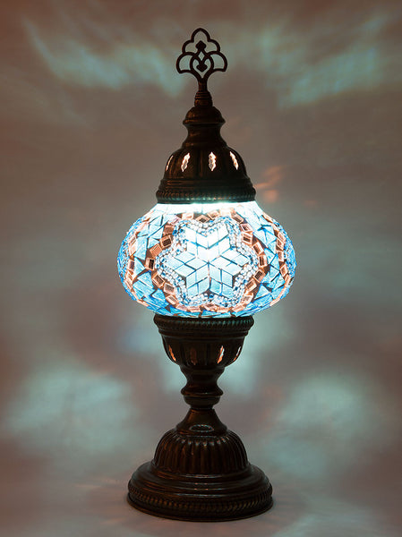 Mosaic Table Lamp, Small Teal Star