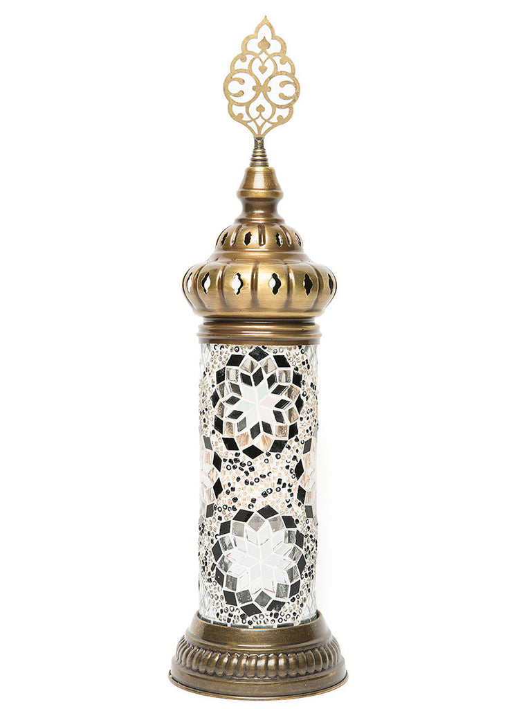 Small Mosaic Cylinder Table Lamp, Gold & Black Accents