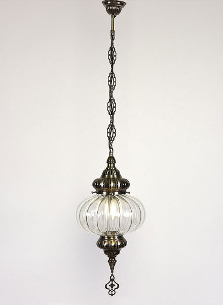 Clear Glass Hanging Lamp, Pumpkin Shape