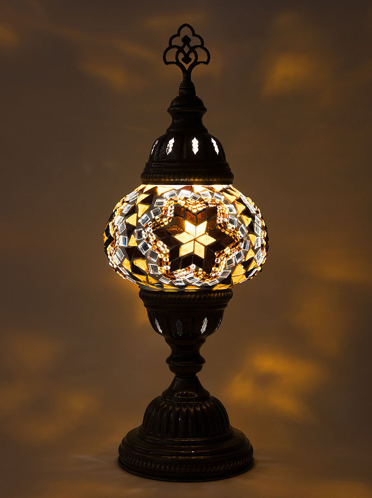 Mosaic Table Lamp, Small Gold Star | Lolo Rugs and Gifts