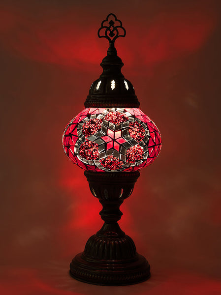 Mosaic Table Lamp, Small Red Star