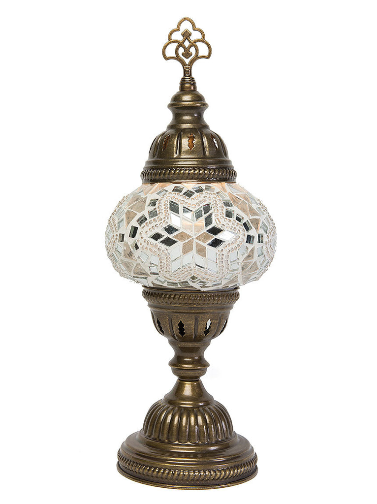 Mosaic Table Lamp, Small White Star