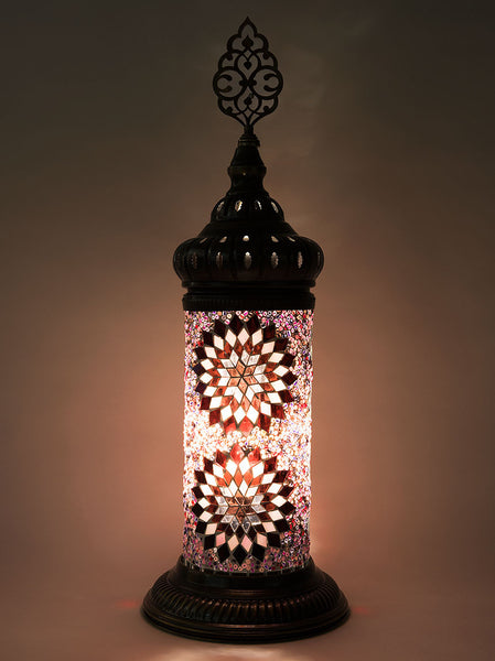 Mosaic Cylinder Table Lamp, Purple