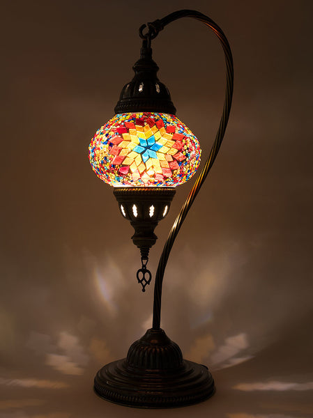 Charmant ... Mosaic Curved Table Lamp, Small Multi Colored