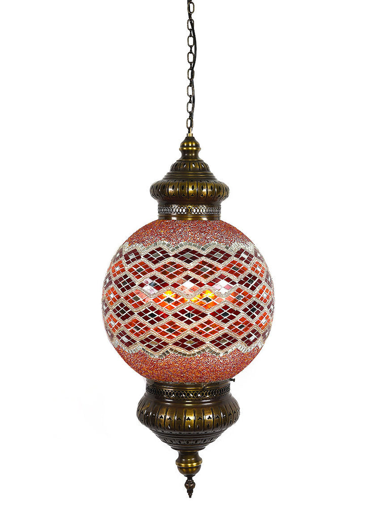 "Hanging Mosaic Globe, 16"" Red/Orange"
