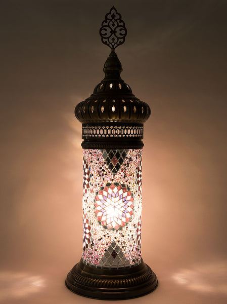 Mosaic Cylinder Table Lamp, Light Purple