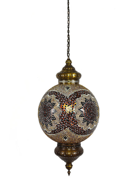 "Hanging Mosaic Globe, 21"" Gold & Black"