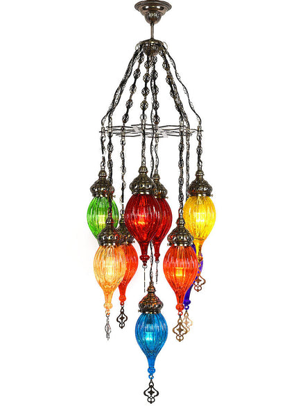 Cracked Glass Chandelier, 9 Lamps Multi-Colored