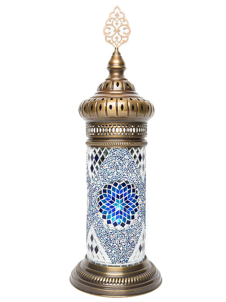 Mosaic Cylinder Table Lamp, Blue