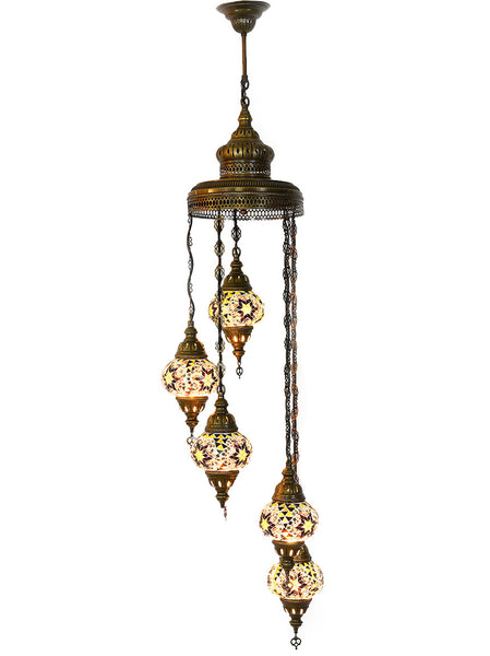 Mosaic Staircase Chandelier, 5 Lamps
