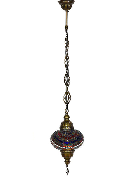 Mosaic Pedant Hanging Lamp, Blue & Red