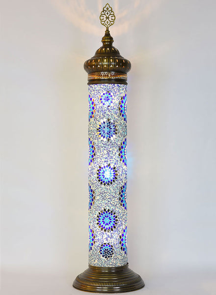 Mosaic Cylinder Floor Lamp - Blue