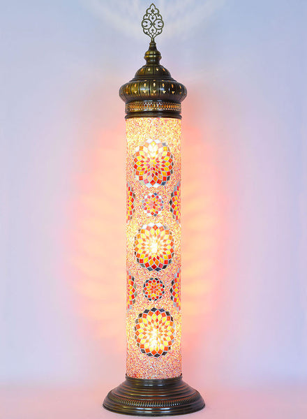 Mosaic Cylinder Floor Lamp - Red/Yellow