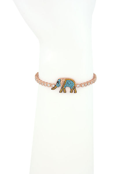 Adjustable Rose Gold Bracelet, Elephant Charm